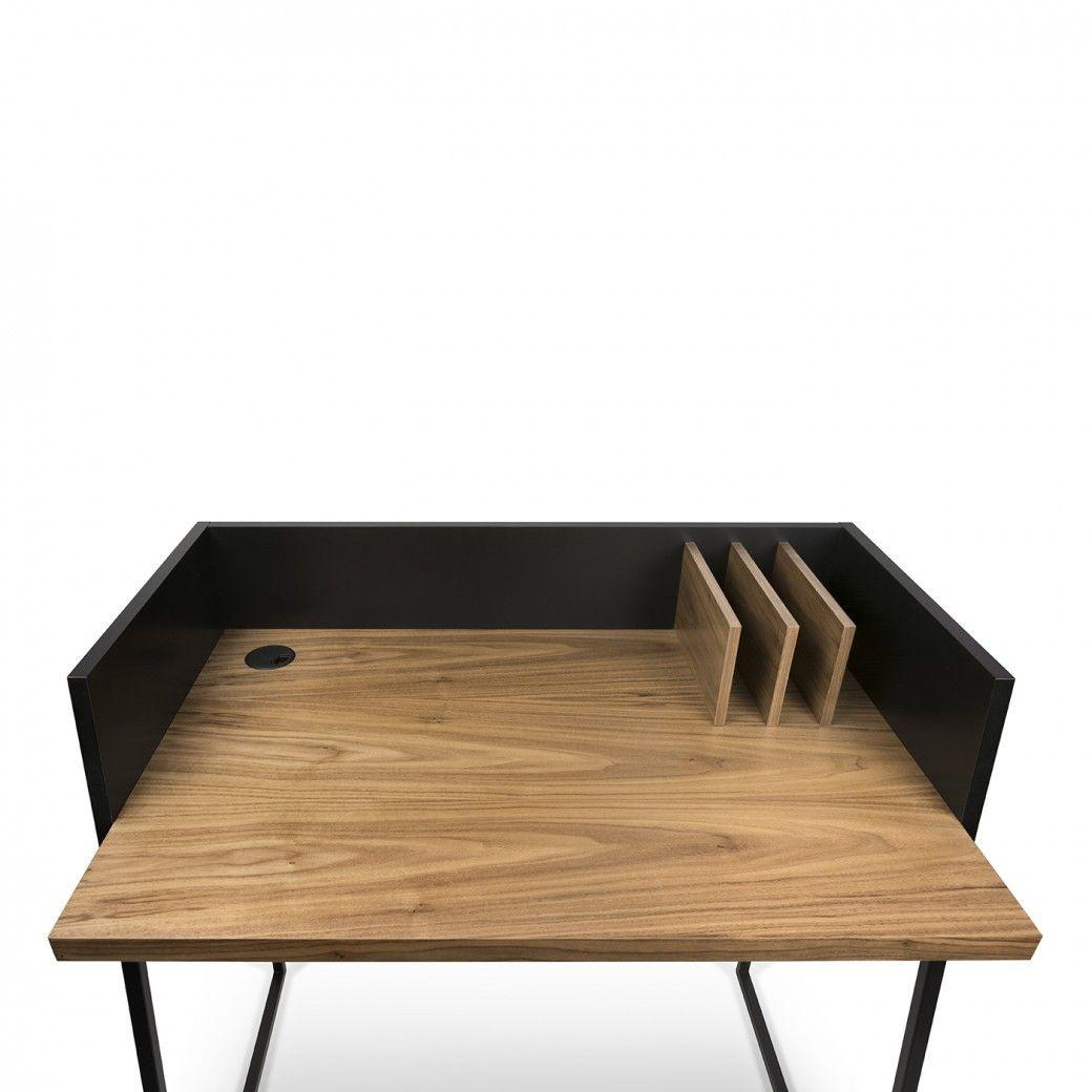 Schreibtisch Volga   Schwarz & Walnuss