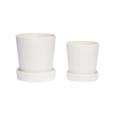 Pflanzenhalter mit Untertasse 2er-Set | Weiß