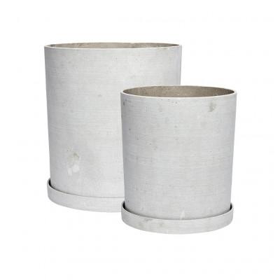 Pflanzenhalter mit Untertasse Medium 2er-Set | Grau