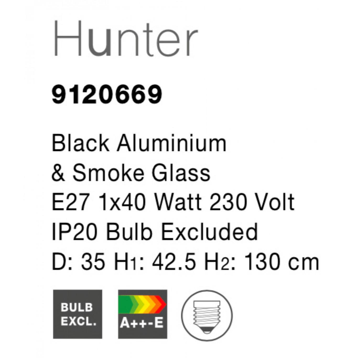 Pendant Light Hunter D 35 cm H 130 cm   Black