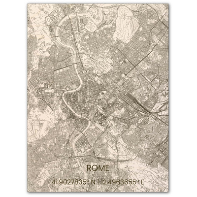 Wooden Wall Decoration | City Map | Rome-