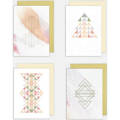 Weihnachtskarten 4er-Set   Jolly Pastell