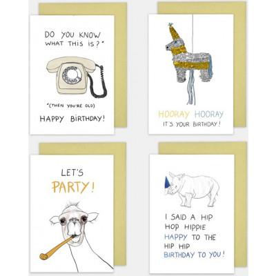 Geburtstagskarten 4er-Set   Lustig