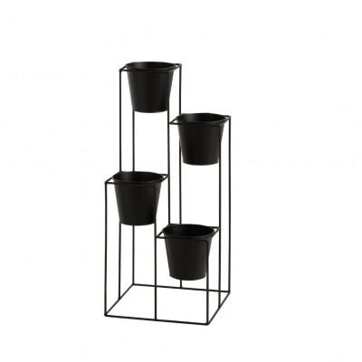 Gestell Blumentopfhalter mit 4 Töpfen   Schwarz