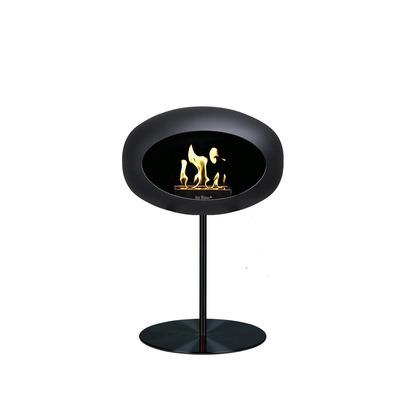 Bio Fireplace Ground Steel Low Black 50 cm | Black Pole & Black Plate