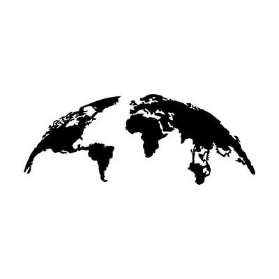 Dekoratives Metall Wandzubehör Weltkarte Medium l Schwarz