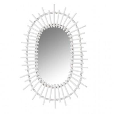 Spiegel Oval Sun   Bambus weiß