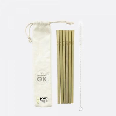 Strohhalme mit Reinigungsbürste 6-teiliges Set | Bambus