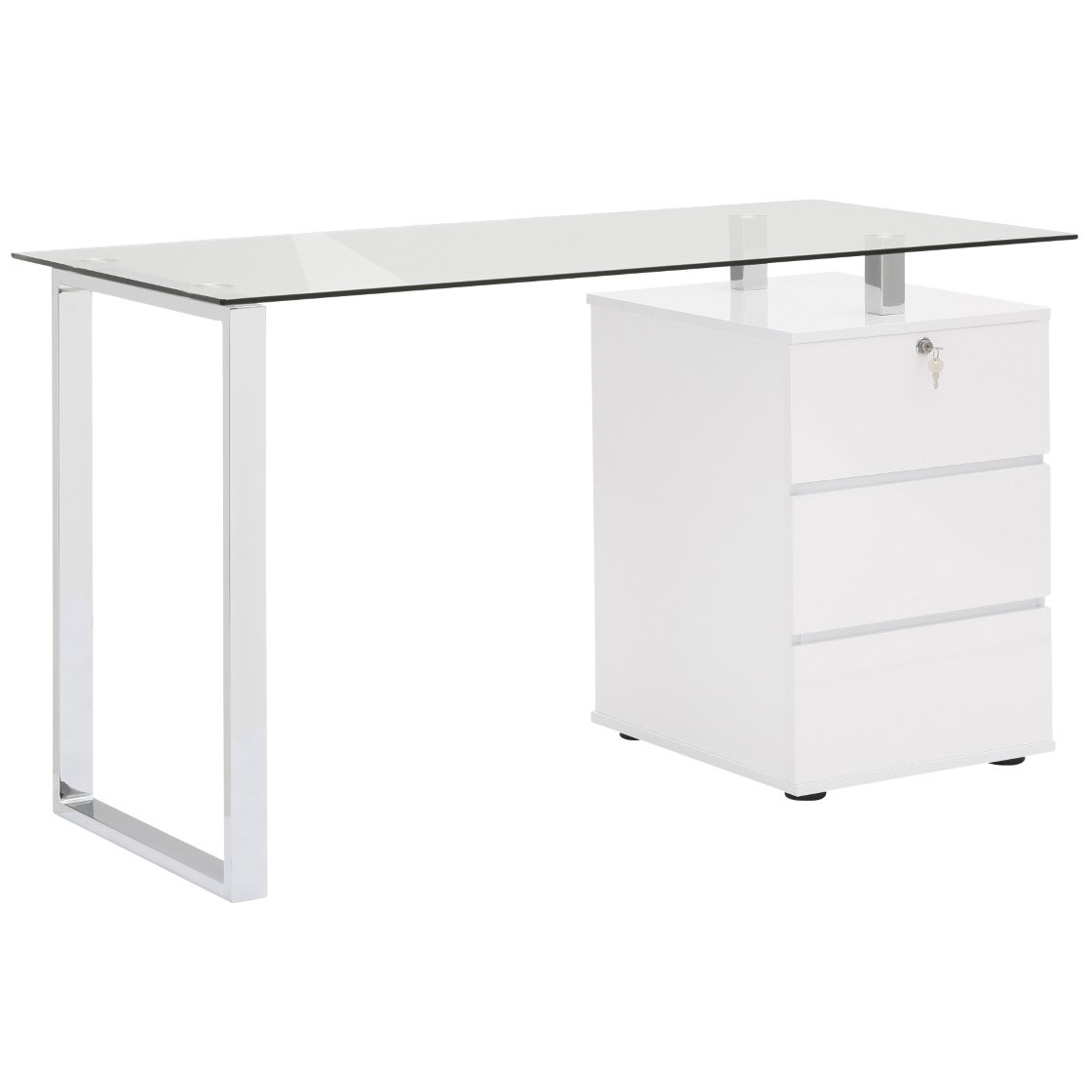 Computertisch 9550 | Metall Chrom / Weiß Hochglanz