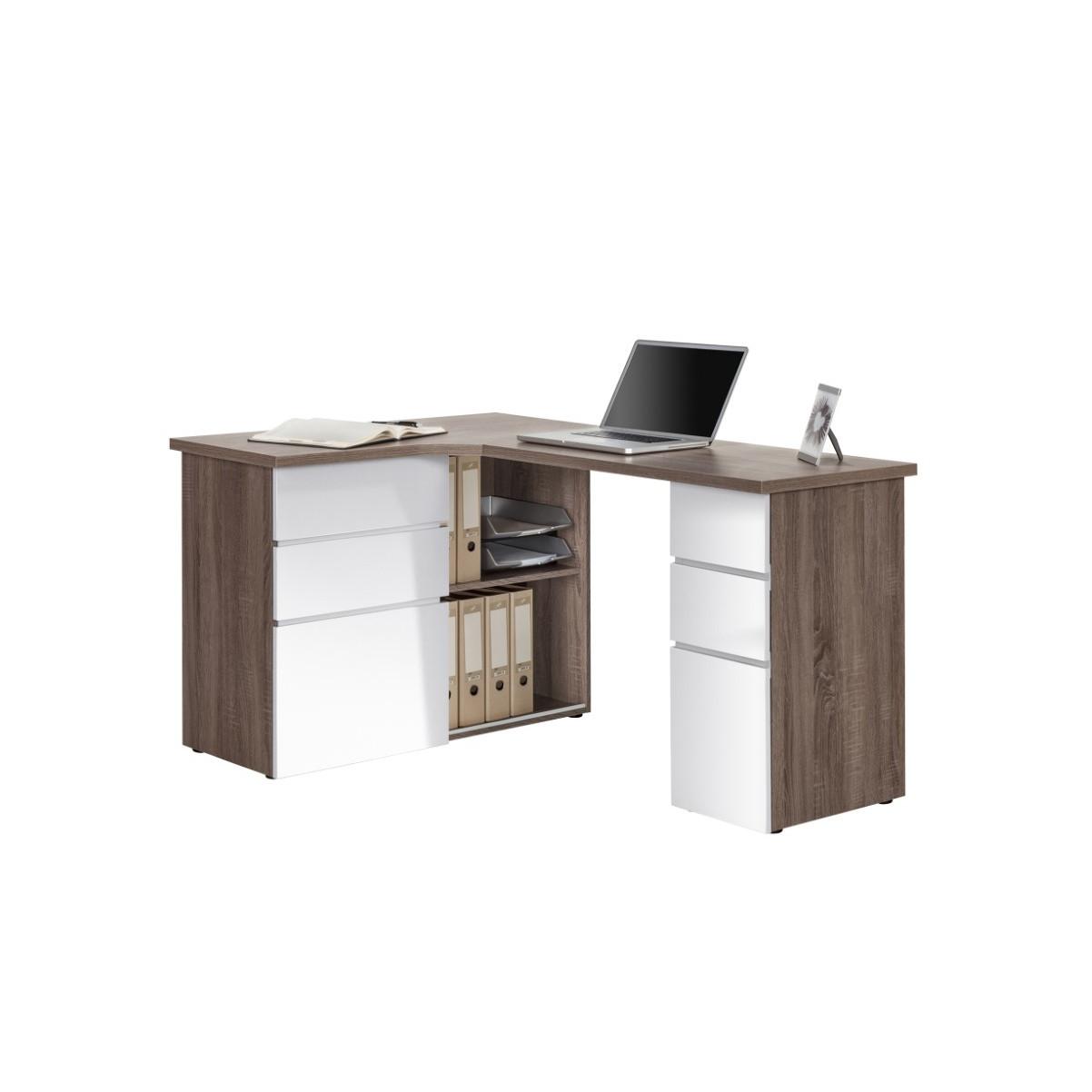 Computertisch 9543   Eiche Trüffel Sägerau / Weiß Hochglanz