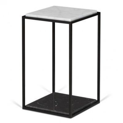 Side Table Forrest | Black & White Marble, Black Legs