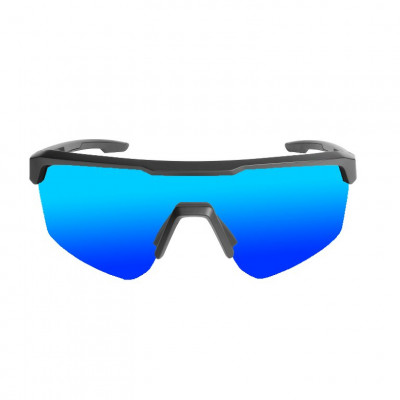 Fahrradbrille Road   Matt-Schwarzer Rahmen / Blaue Revo Linsen