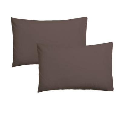 Set of 2 Pillow Covers 50 x 75 | Chocolate Brown