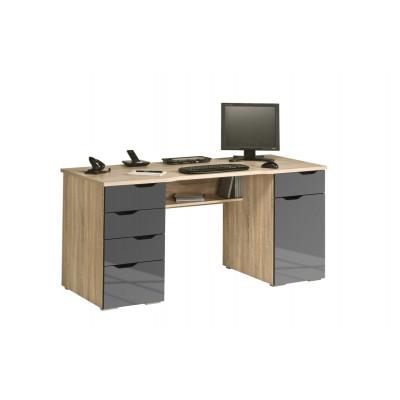 Computertisch 9539 | Sonoma-Eiche / Grau Hochglanz