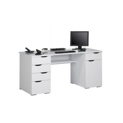 Computertisch 9539 | Weiß Hochglanz / Icy-Weiß