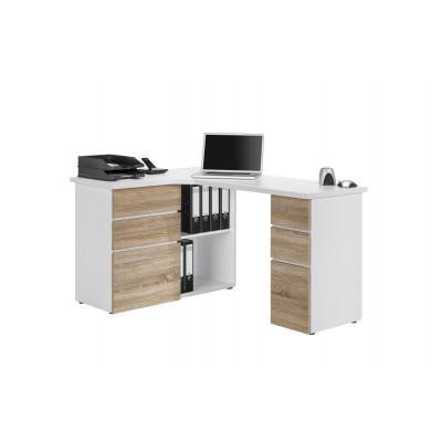 Computertisch 9543 | Icy-Weiß / Sonoma-Eiche