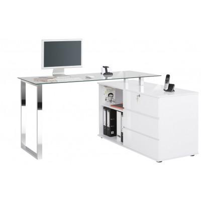 Computertisch 9548 | Metall Verchromt / Weiß Hochglänzend