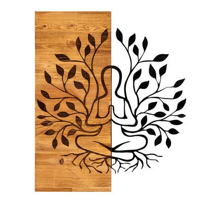 Dekoratives Wandaccessoire aus Holz Lina l Walnuss-Schwarz