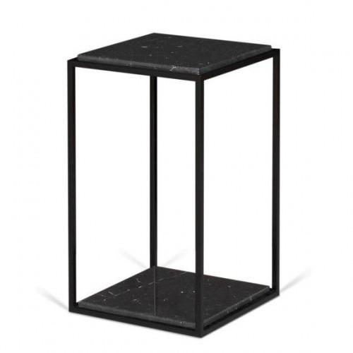 Side Table Forrest   Black Marble, Black Legs