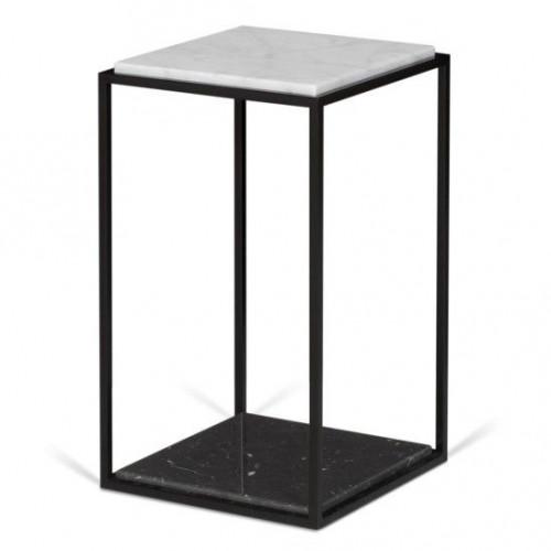 Table d'Appoint Forrest | Marbre Noir & Blanc, Pieds de Table Noirs