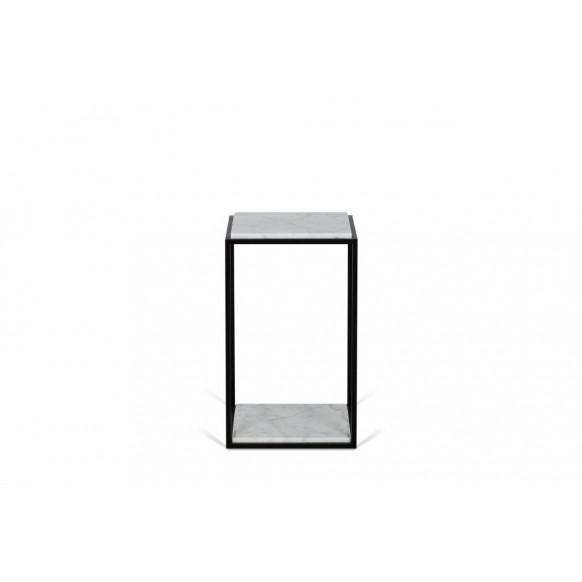 Beistelltisch Forrest | weißer Marmor, schwarze Beine