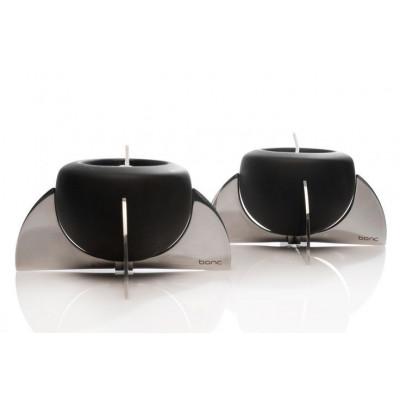 Set of 2 Rocket Tea Light Holder Black