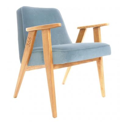 Sessel 366 Tweed | Natürliche Eiche & Sammt Blau