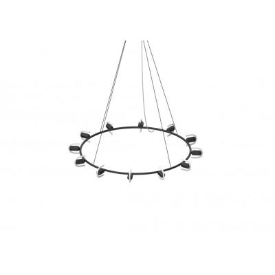 Kronleuchter Circular B mit Smile-01 LED-Glühbirnen | Schwarz