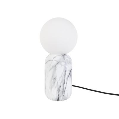 Tischlampe Gala | Eisen Marmordruck Weiß mit Glaskugel