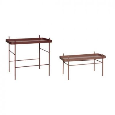 2er-Set Beistelltisch Metal 60 cm | Rot