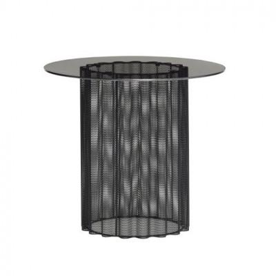 Beistelltisch Glas Metal 45 cm | Schwarz Mattiert