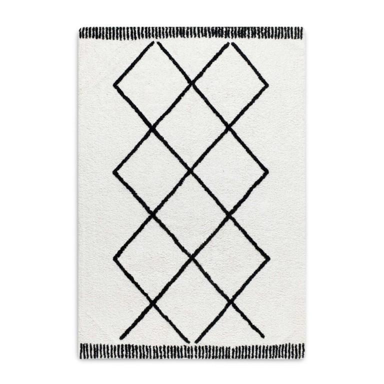 Morocco Rug   Black and White 120 x 170 cm
