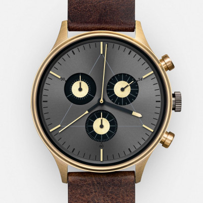 The Engineer Analog Watch   PVD Gold, Dark Brown Italian Leather Strap