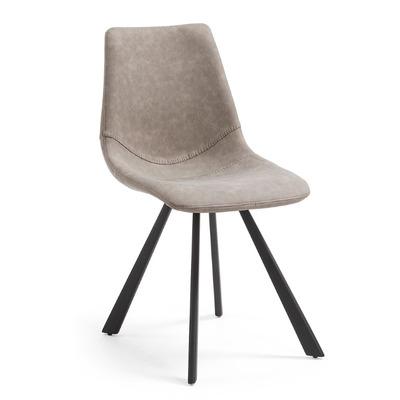 Stuhl Andi   Schwarzes Metall und PU Taupe