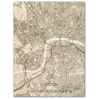 Wooden Wall Decoration | City Map | London