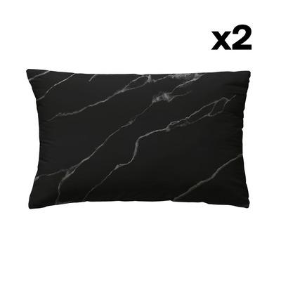 Set of 2 Pillow Covers 50 x 75 | Taisei Black