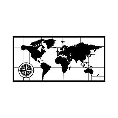 Dekoratives Metall Wandzubehör Worldmap Dekor 7 l Schwarz