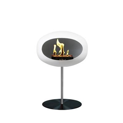 Bio Fireplace Ground Steel Low White 50 cm | Steel Pole & Black Plate
