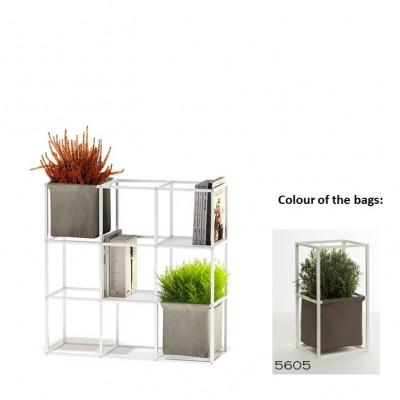 Modulares Pflanzengestell 9x Weiß + 2 Braune Taschen