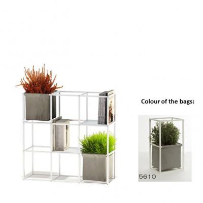 Modulares Pflanzengestell 9x Weiß + 2 Graue Taschen