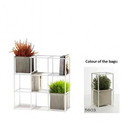 Modulares Pflanzengestell 9x Weiß + 2 Hellgraue Taschen