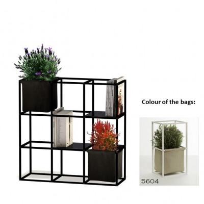 Modulares Pflanzengestell 9x Schwarz + 2 Beige Taschen