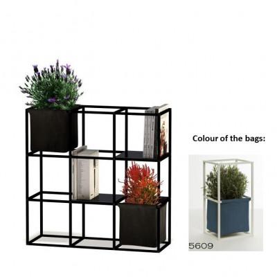 Modulares Pflanzengestell 9x Schwarz + 2 Blaue Taschen