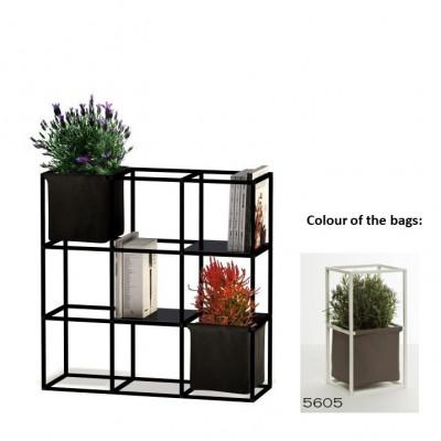 Modulares Pflanzengestell 9x Schwarz + 2 Braune Taschen