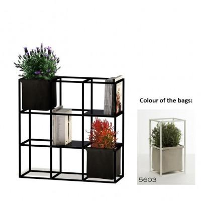 Modulares Pflanzengestell 9x Schwarz + 2 Hellgraue Taschen