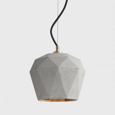 Pendelleuchte [T3] Dreieck | Hellgrauer Beton & Vergoldung