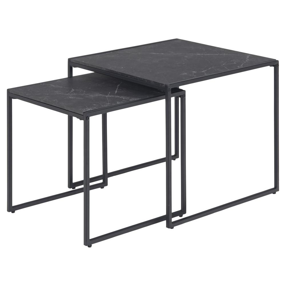 Set of 2 Side Tables Infinity 50 x 50 x 45 cm   Black