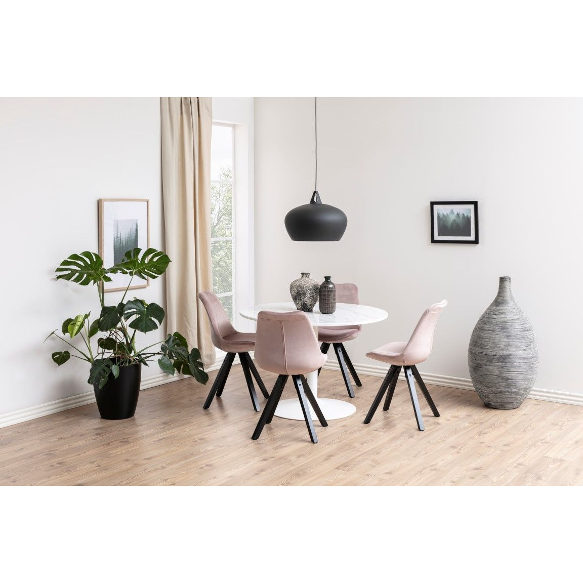 Set of 2 Dining Chairs Nida   Pink + Rubber Wooden Legs