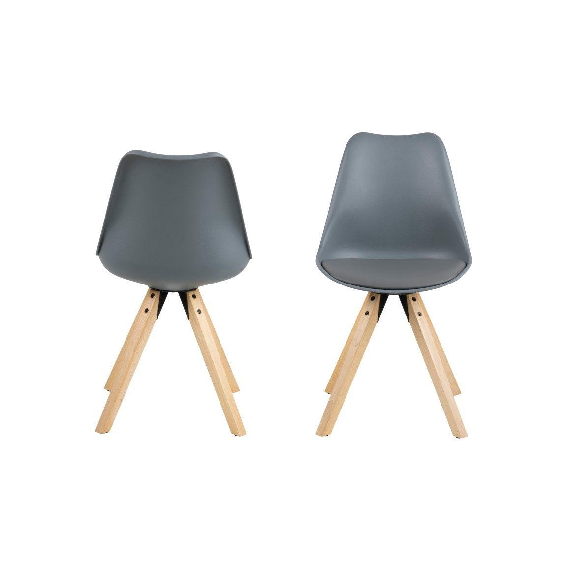 Chairs Nida Set of 2 | Grey + Grey Cushion