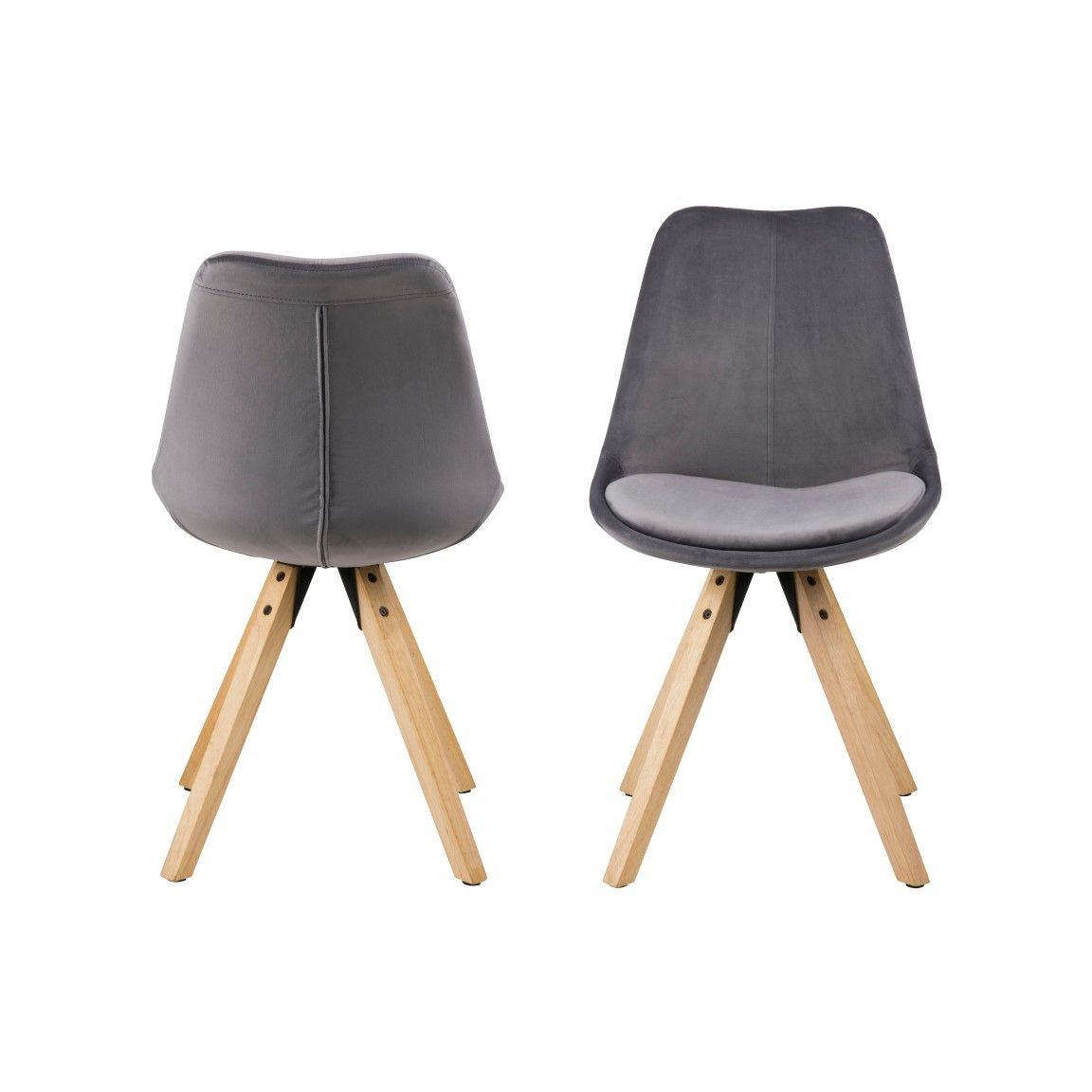 Esszimmerstühle Nida | 2er-Set | Dunkelgrau + Holzbeine aus Gummi